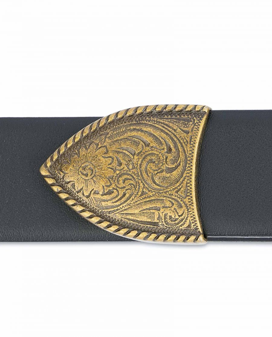 Black-Western-Belt-Mens-Bronze-Belt-Buckle-End