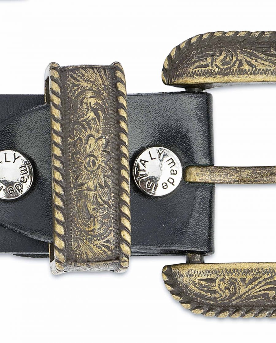 Black-Western-Belt-Mens-Bronze-Belt-Buckle-Screws