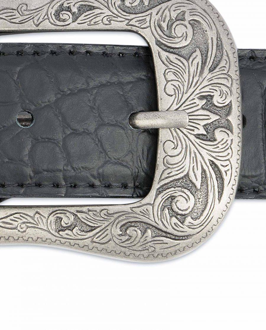 Black-Western-Belt-Mens-Crocodile-Embossed-Leather-Antique-silver-buckle