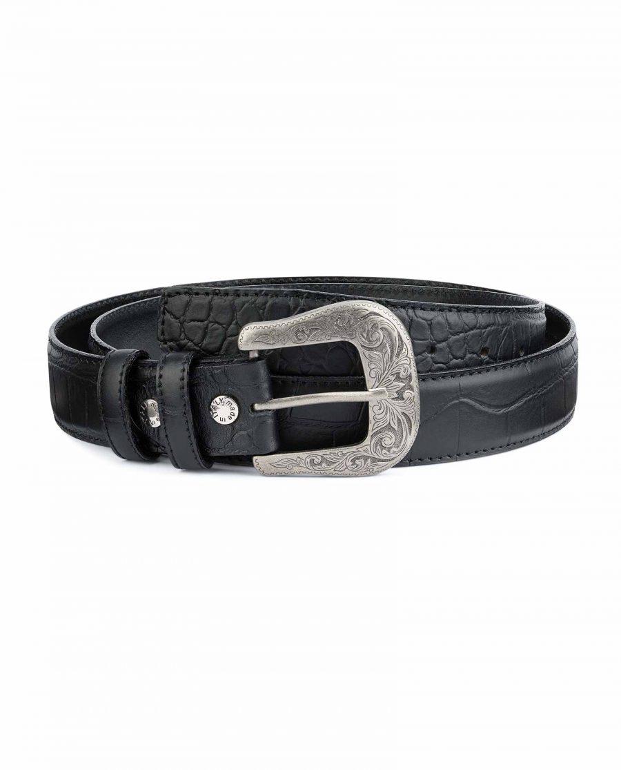 Black-Western-Belt-Mens-Crocodile-Embossed-Leather-Capo-Pelle