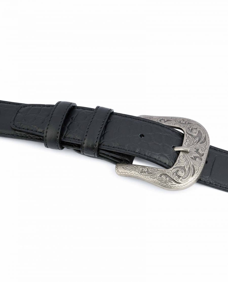 Black-Western-Belt-Mens-Crocodile-Embossed-Leather-High-quality