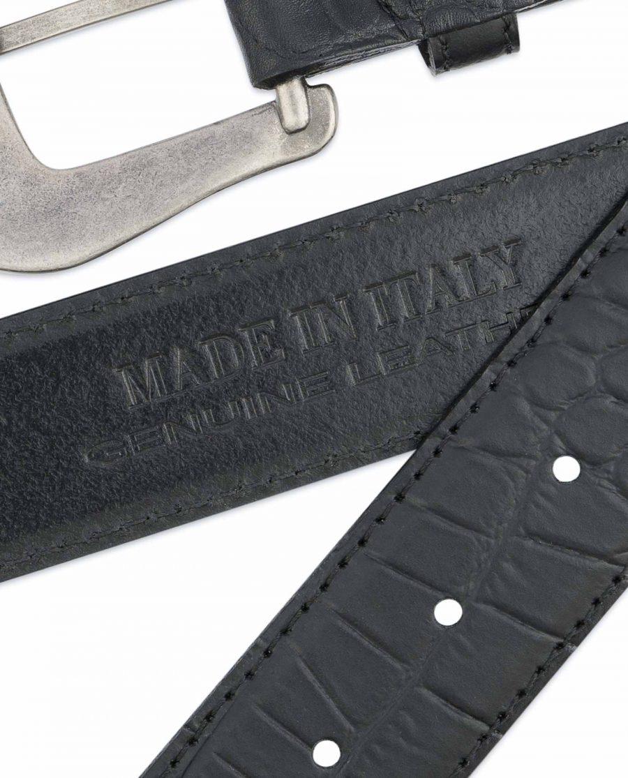 Black-Western-Belt-Mens-Crocodile-Embossed-Leather-Hot-stamp