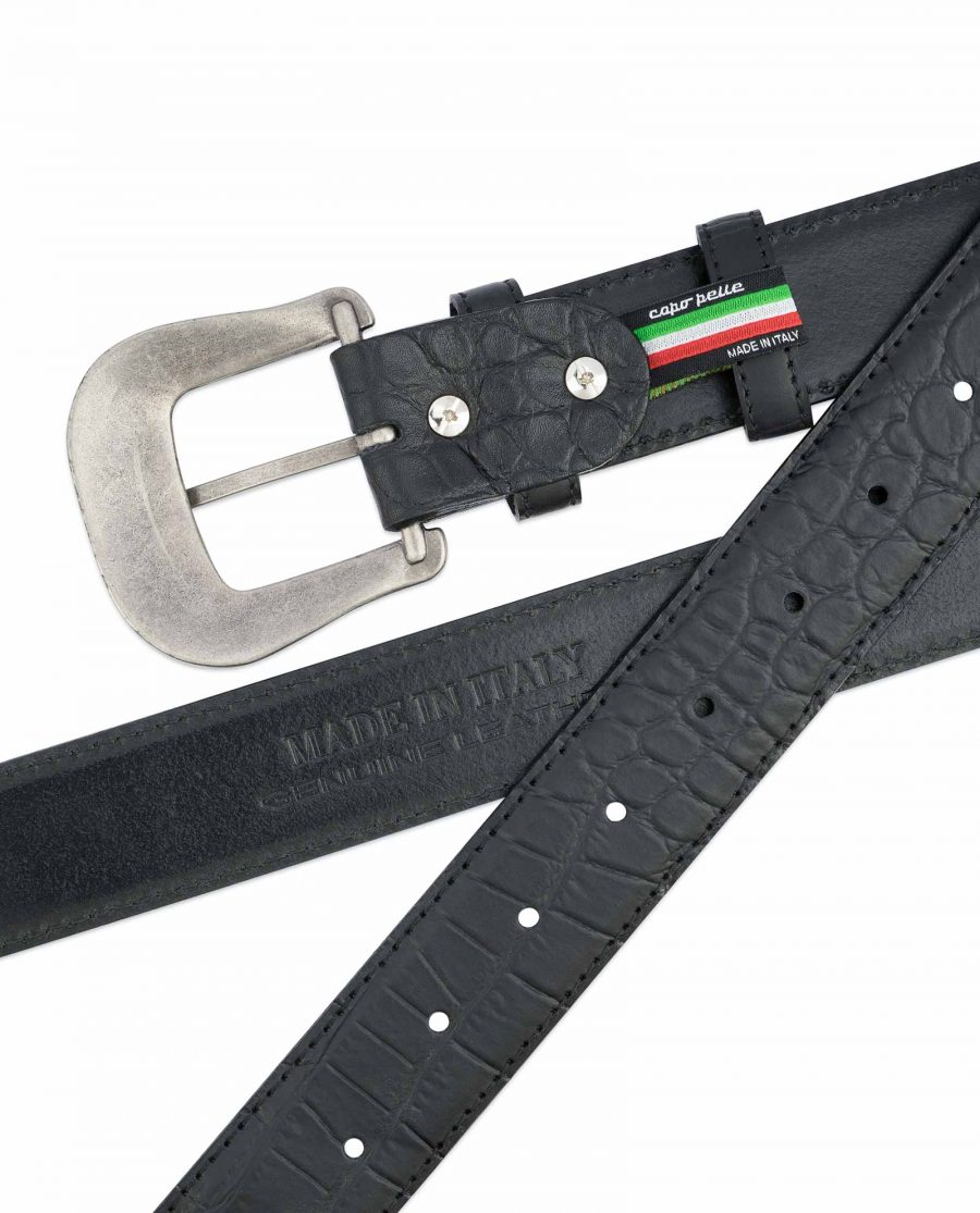 Black-Western-Belt-Mens-Crocodile-Embossed-Leather-Made-in-Italy