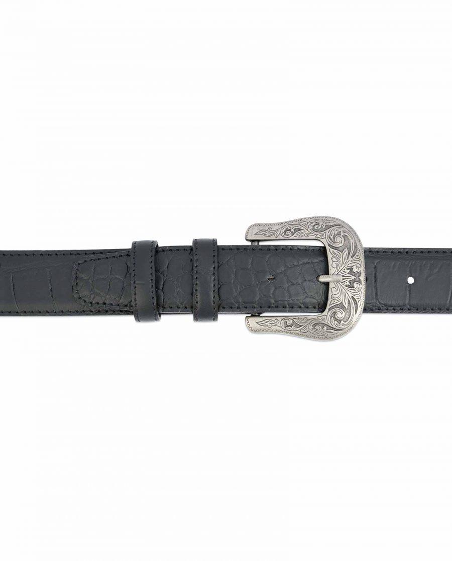 Black-Western-Belt-Mens-Crocodile-Embossed-Leather-On-jeans