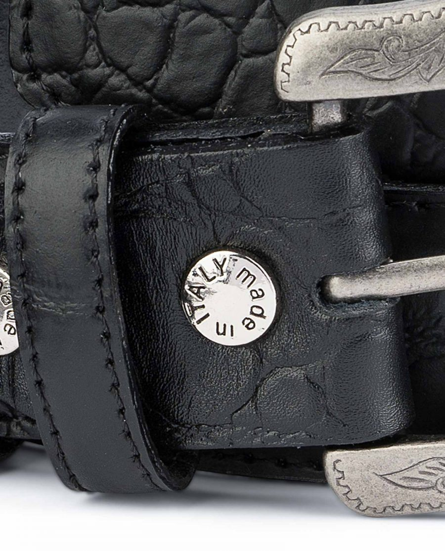 Black-Western-Belt-Mens-Crocodile-Embossed-Leather-Screws-Bolts