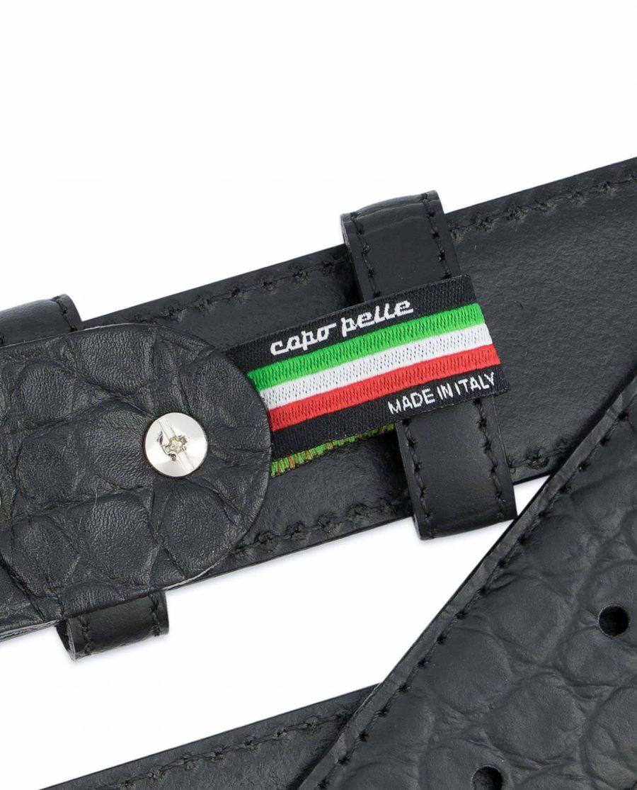 Black-Western-Belt-Mens-Crocodile-Embossed-Leather-Woven-tag
