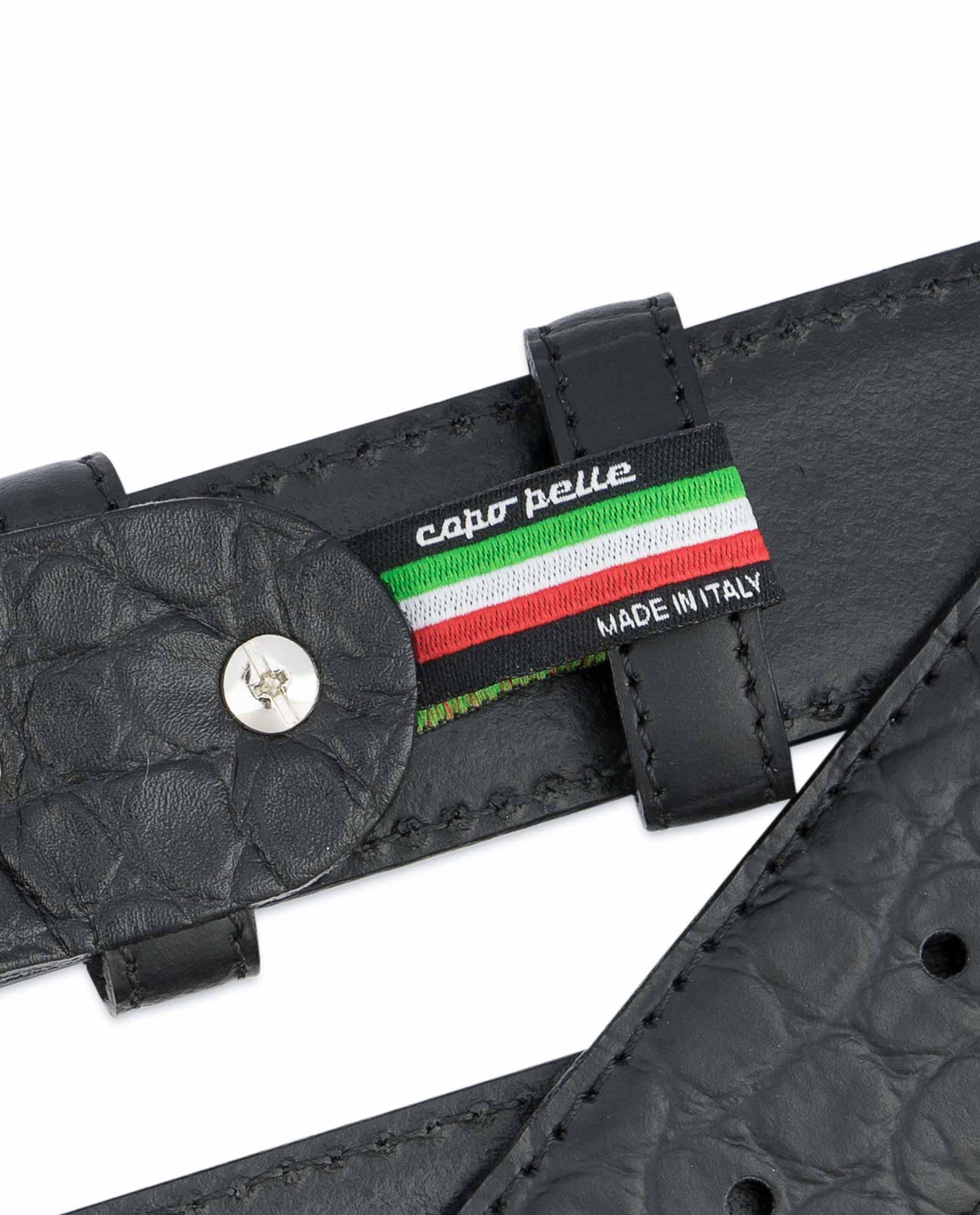 Made In Italy Men/'s Genuine Leather Black Croc Embossed Dress Belt