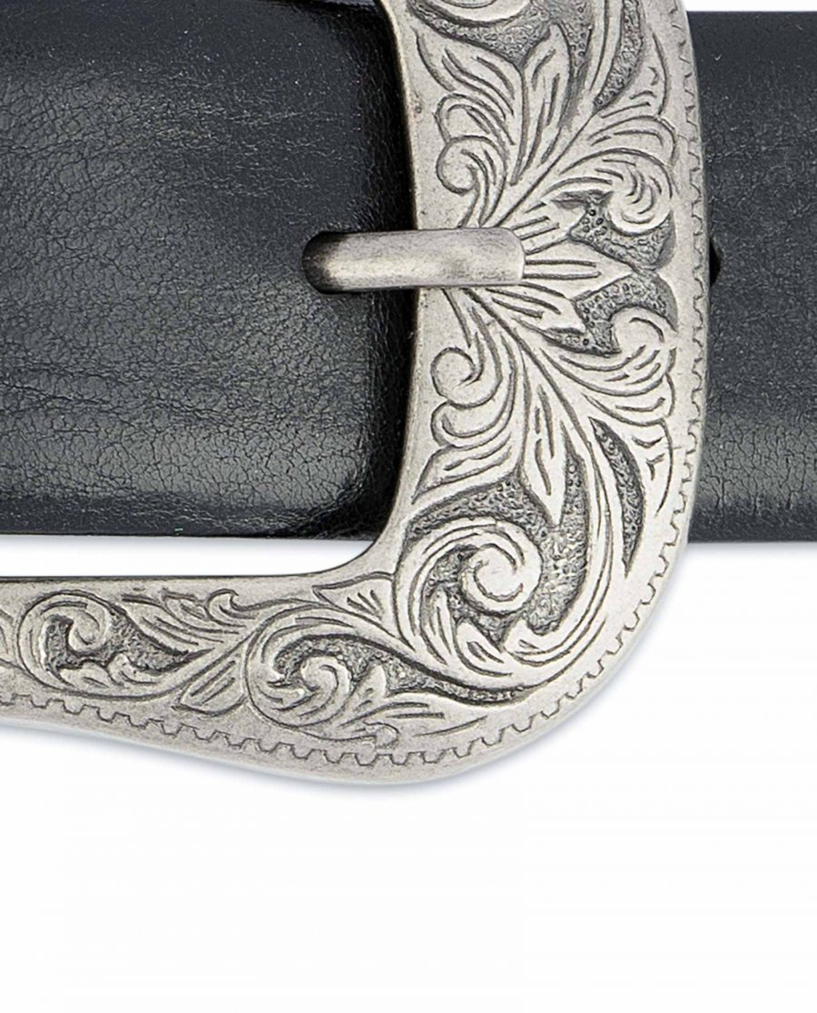 Black-Western-Belt-Mens-Veg-Tan-Leather-Floral-engrave-buckle