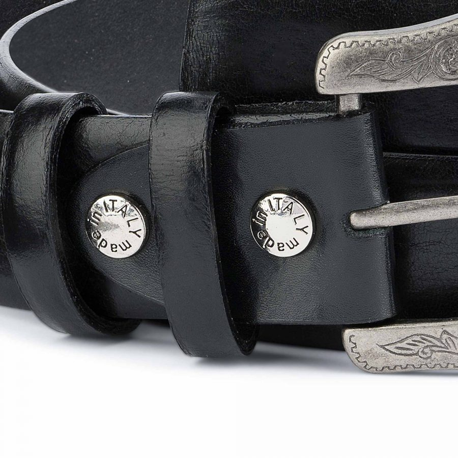 Black-Western-Belt-Mens-Veg-Tan-Leather-Genuine-Real