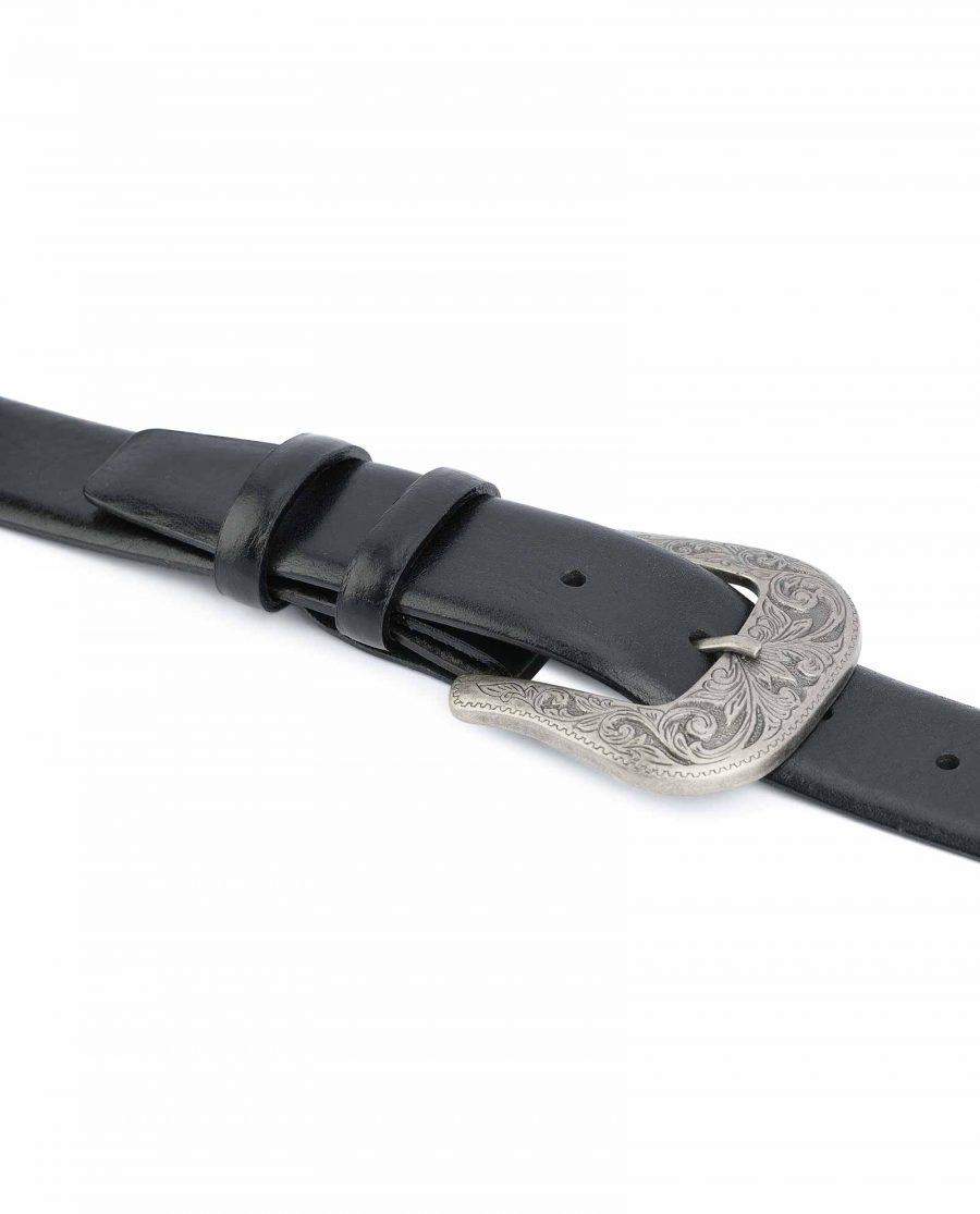 Black-Western-Belt-Mens-Veg-Tan-Leather-Smooth-leather