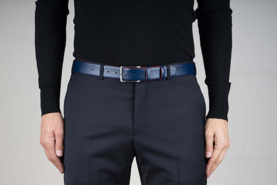 Blue-Leather-Belt-With-Red-Edges-Live-on-Pants
