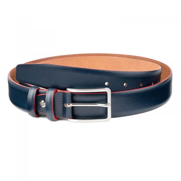 Blue-Leather-Belt-With-Red-Edges-Mens-by-Capo-Pelle-First-picture