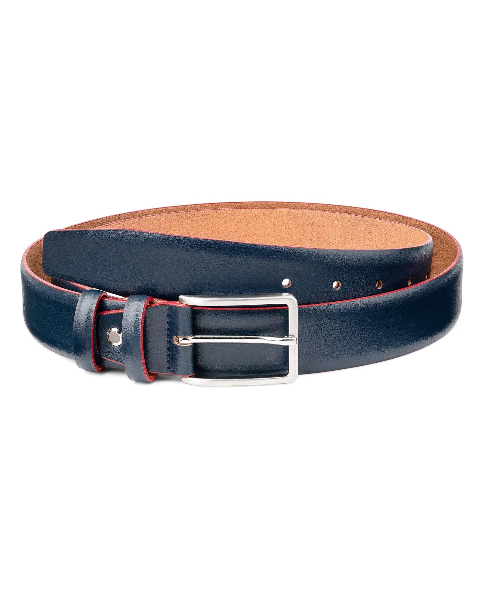 Capo Pelle Men/'s Belts Navy blue Red edges Genuine Italian Leather Buckles Sz 34