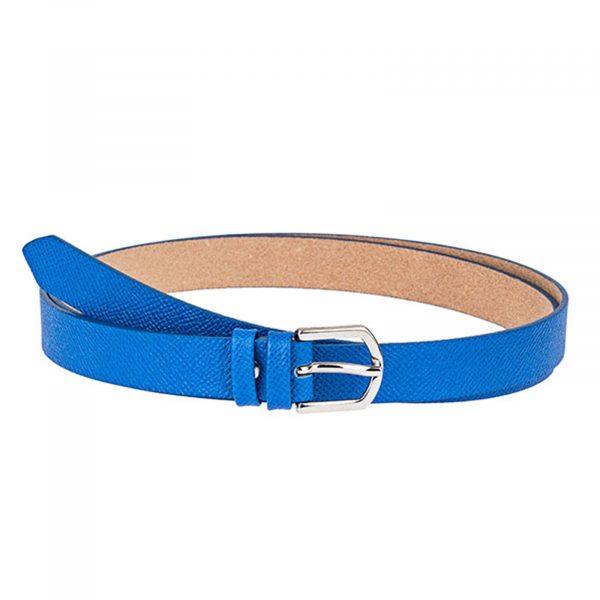 Blue-Saffiano-Skinny-Belt-Front-Image