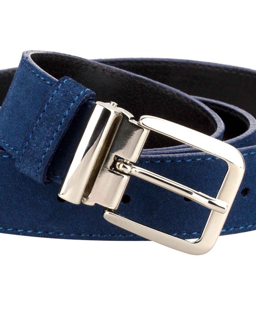 Blue-Suede-Belt-Italian-Buckle-Close-image