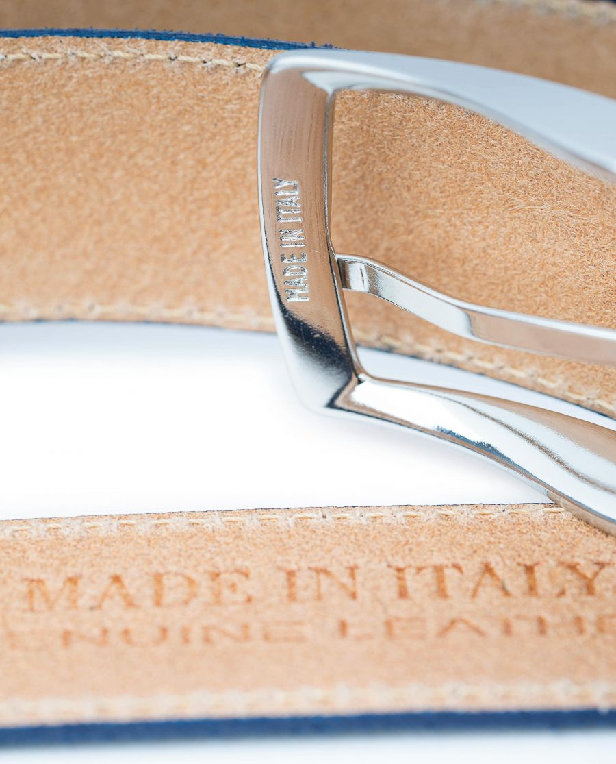 Blue-Suede-Belt-Navy-Genuine-Italian-Leather-Capo-Pelle-Heat-stamp-Made-in-Italy