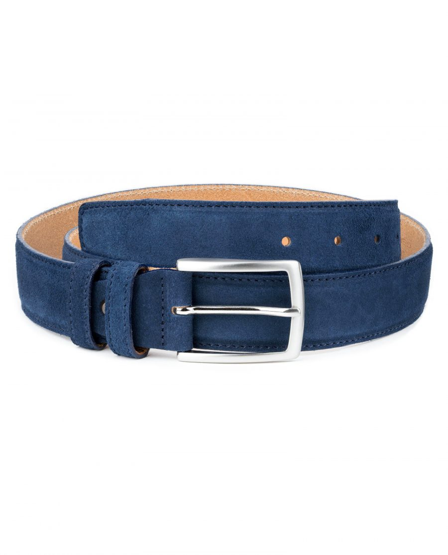Blue-Suede-Belt-Navy-Genuine-Italian-Leather-Capo-Pelle-Main-picture