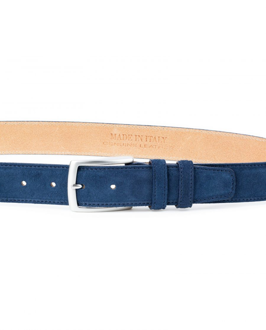 Blue-Suede-Belt-Navy-Genuine-Italian-Leather-Capo-Pelle-On-trousers