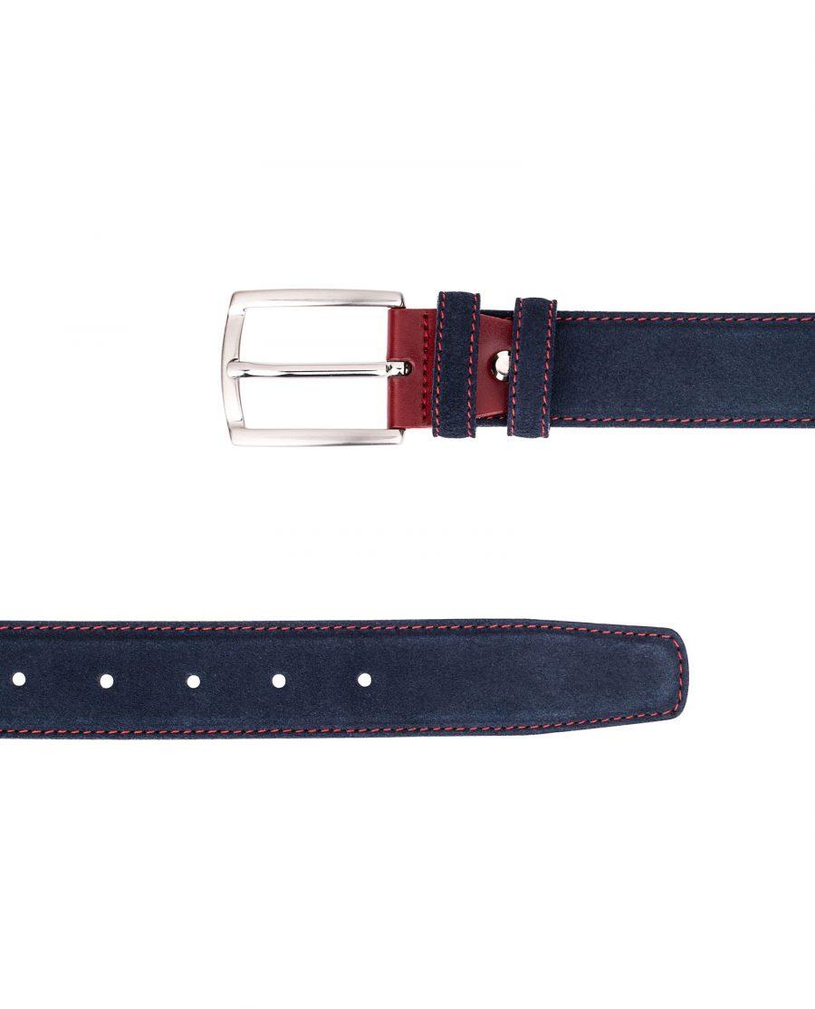 Blue-Suede-Belt-Red-Buckle-Both-ends