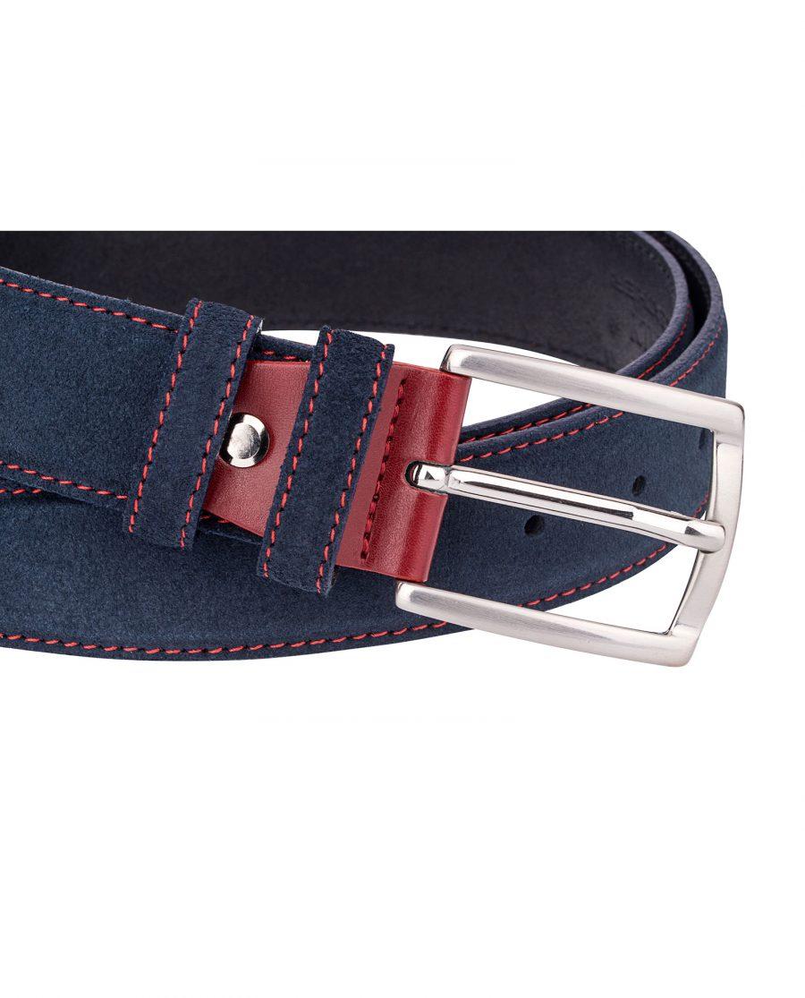 Blue-Suede-Belt-Red-Buckle-Close