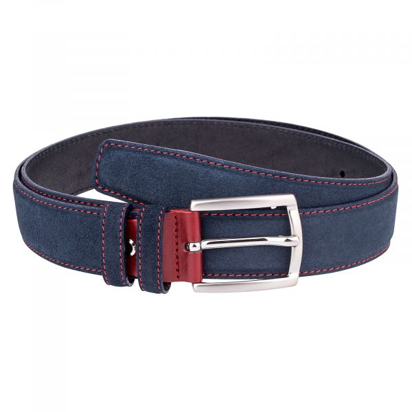 Blue-Suede-Belt-Red-Buckle-Front-picture