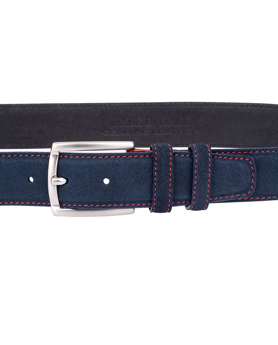 Blue-Suede-Belt-Red-Buckle-On-suit