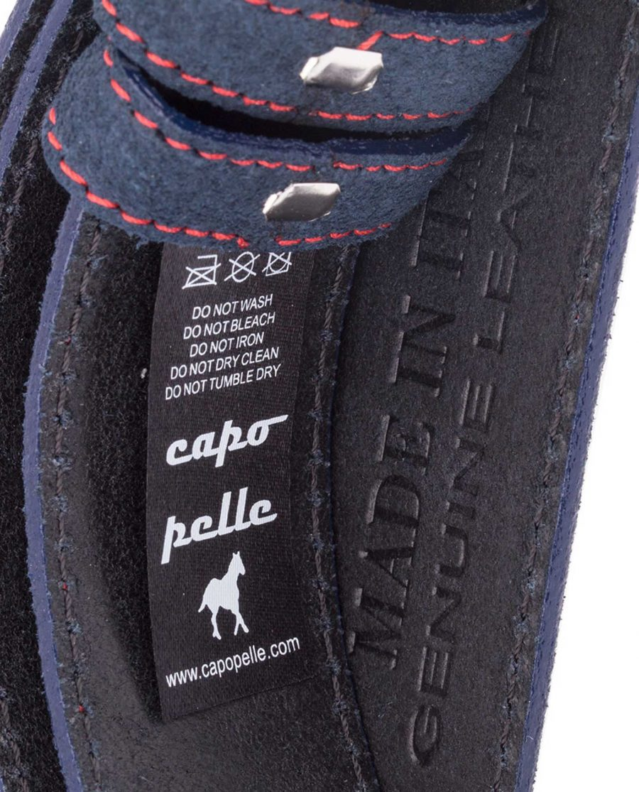 Blue-Suede-Belt-Strap-Red-Thread-Care-Tag