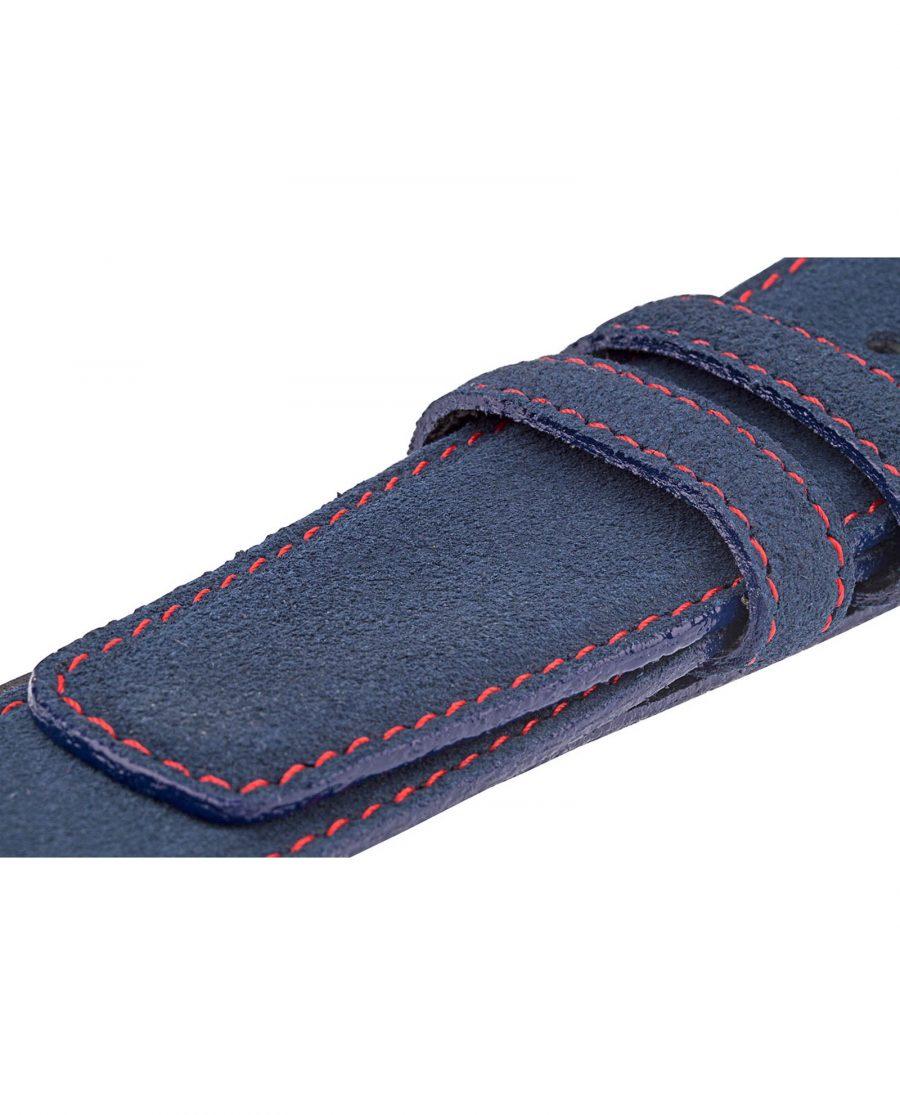 Blue-Suede-Belt-Strap-Red-Thread-Close