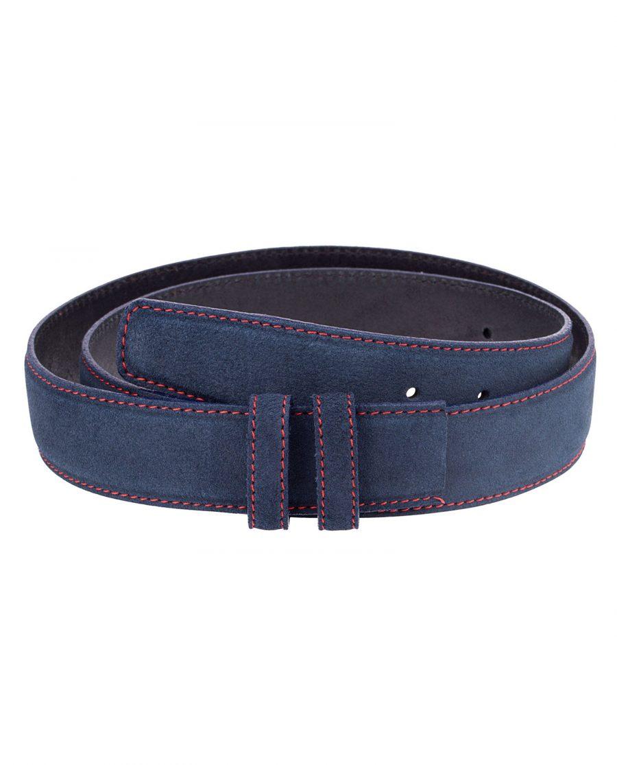 Blue-Suede-Belt-Strap-Red-Thread-Front-Image