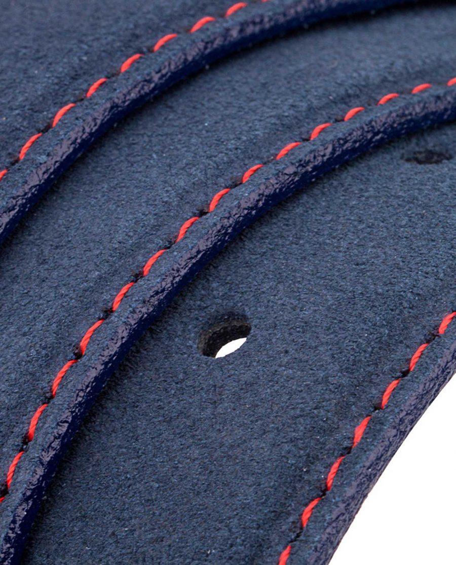 Blue-Suede-Belt-Strap-Red-Thread-Rolled