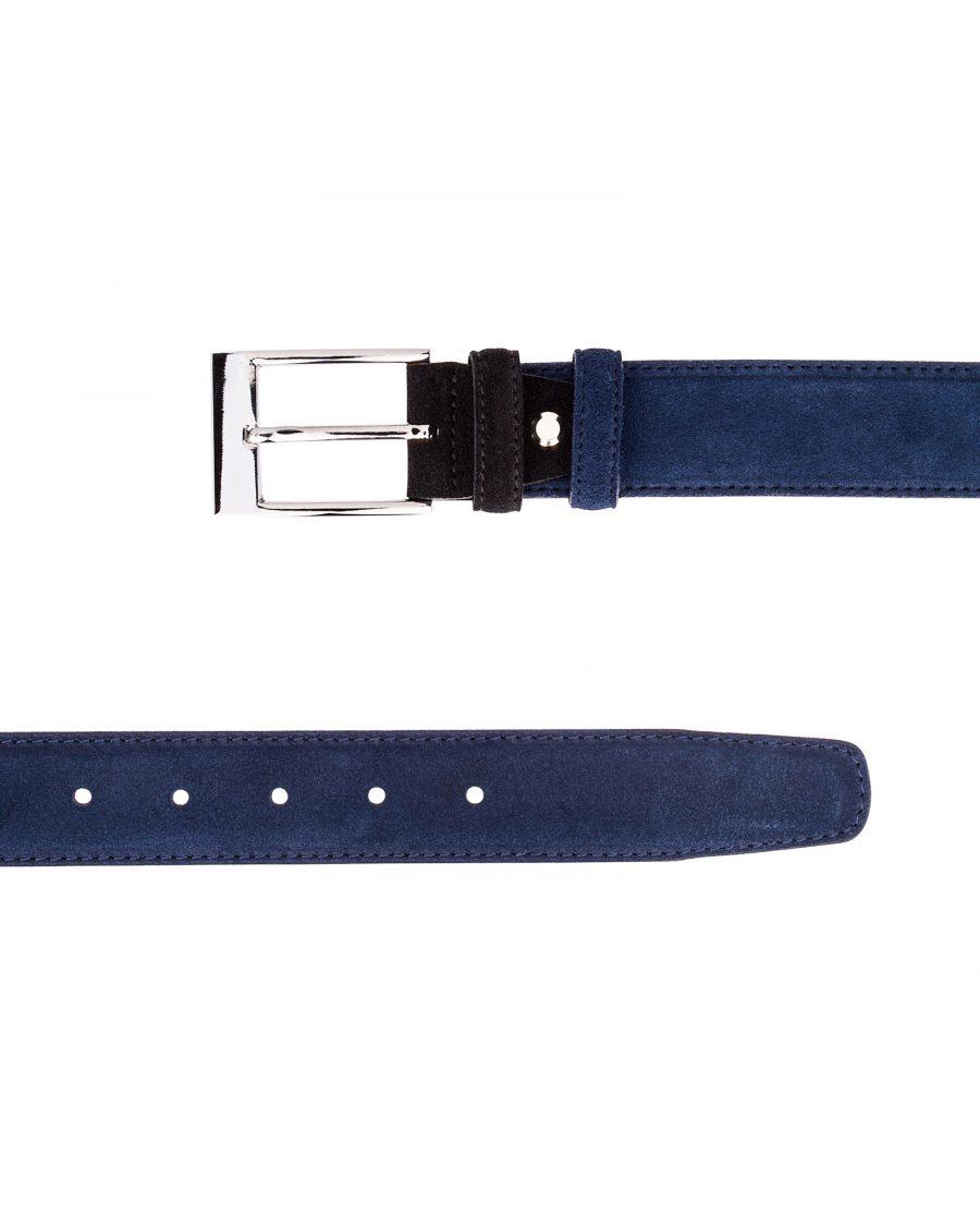 Blue-Suede-Belt-with-Black-buckle-Both-ends