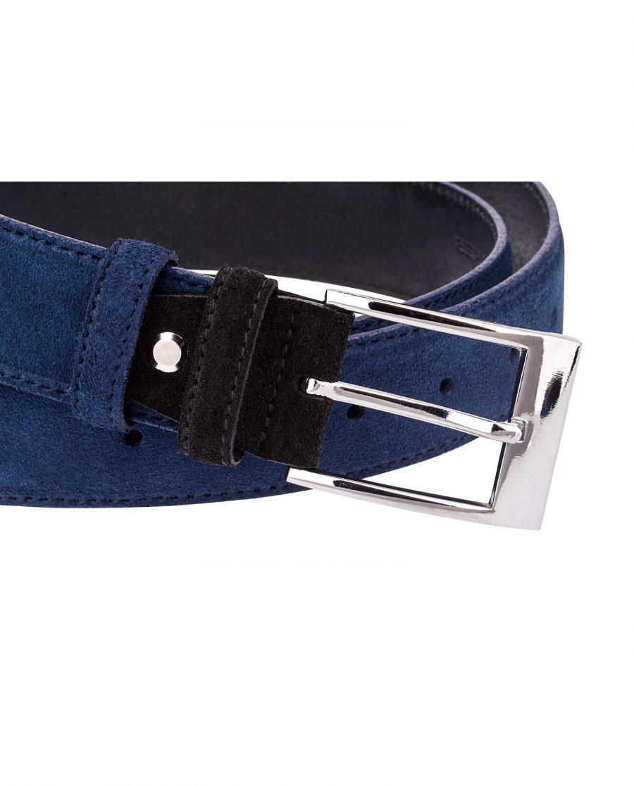Blue-Suede-Belt-with-Black-buckle-Close-image