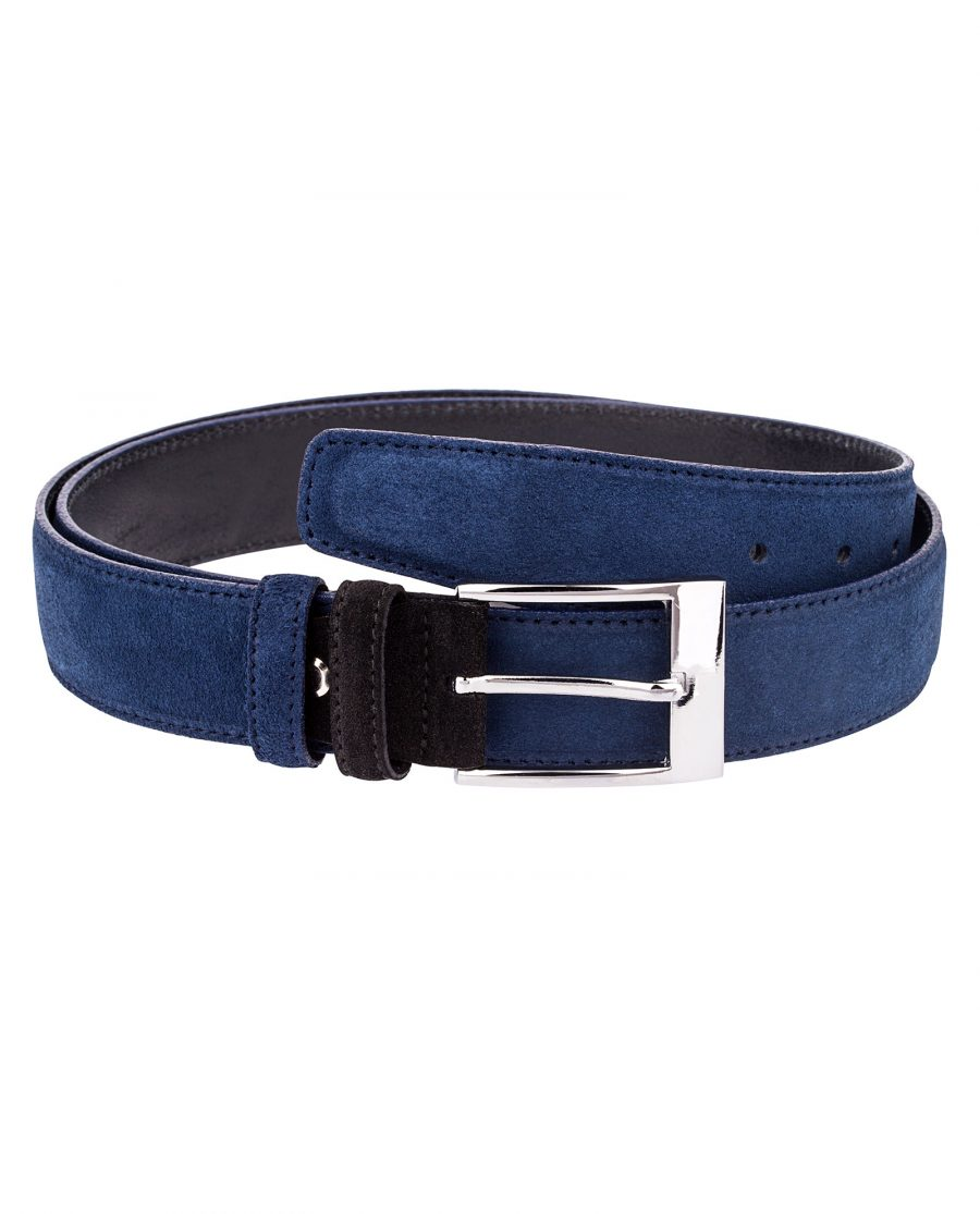 Blue-Suede-Belt-with-Black-buckle-First-picture