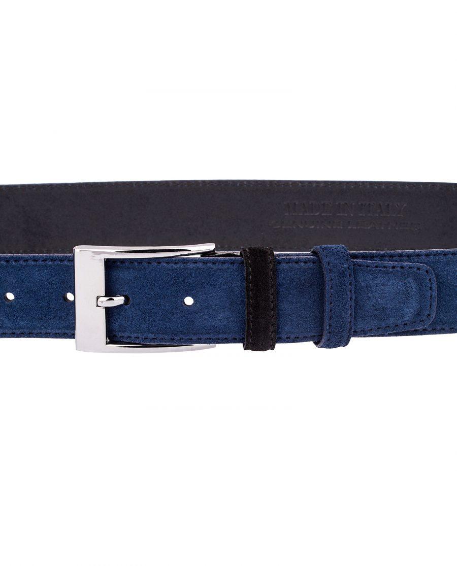 Blue-Suede-Belt-with-Black-buckle-On-dress-suit