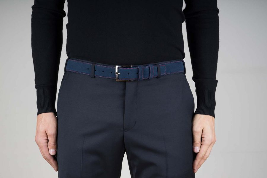Blue-Suede-Belt-with-Red-Stitches-Live-on-Pants