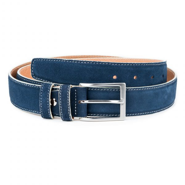 Blue-Suede-Belt-with-White-Feather-Edges-Capo-Pelle-Genuine-Leather-First-picture