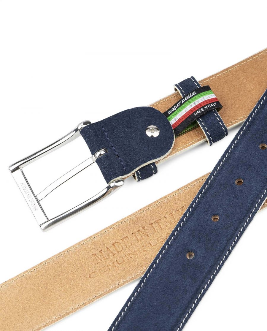 Blue-Suede-Belt-with-White-Feather-Edges-Capo-Pelle-Genuine-Leather-Heat-Stamp