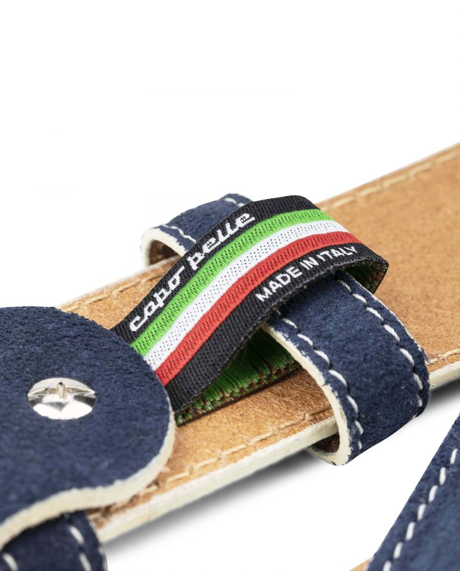 Blue-Suede-Belt-with-White-Feather-Edges-Capo-Pelle-Genuine-Leather-Made-in-Italy