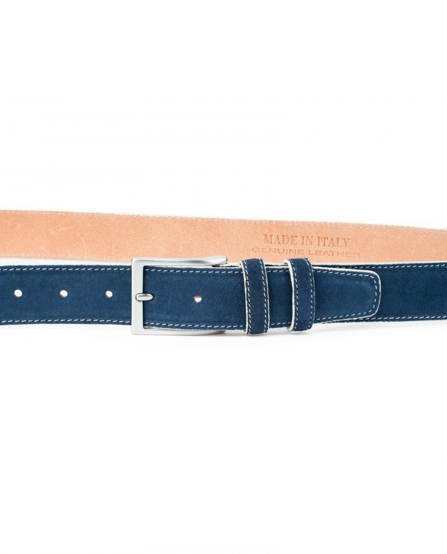 Blue-Suede-Belt-with-White-Feather-Edges-Capo-Pelle-Genuine-Leather-On-trousers