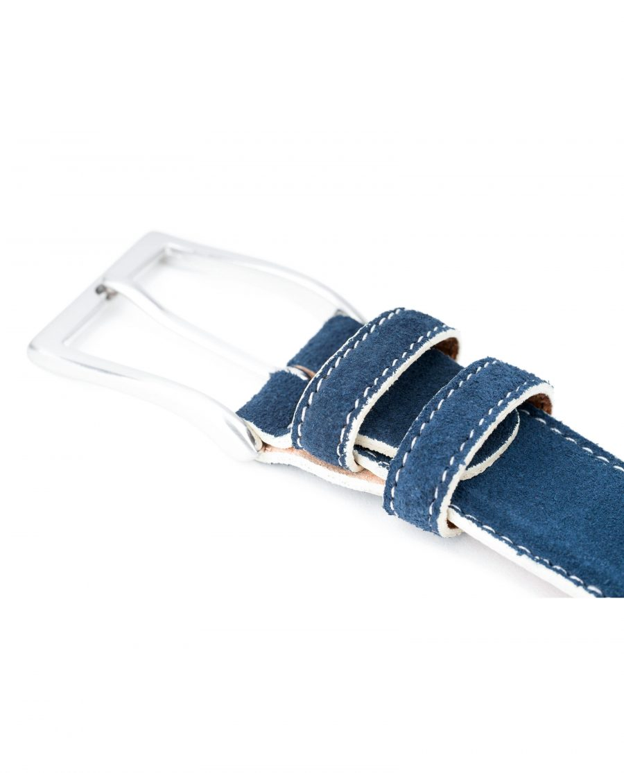 Blue-Suede-Belt-with-White-Feather-Edges-Capo-Pelle-Genuine-Leather-White-Stitching