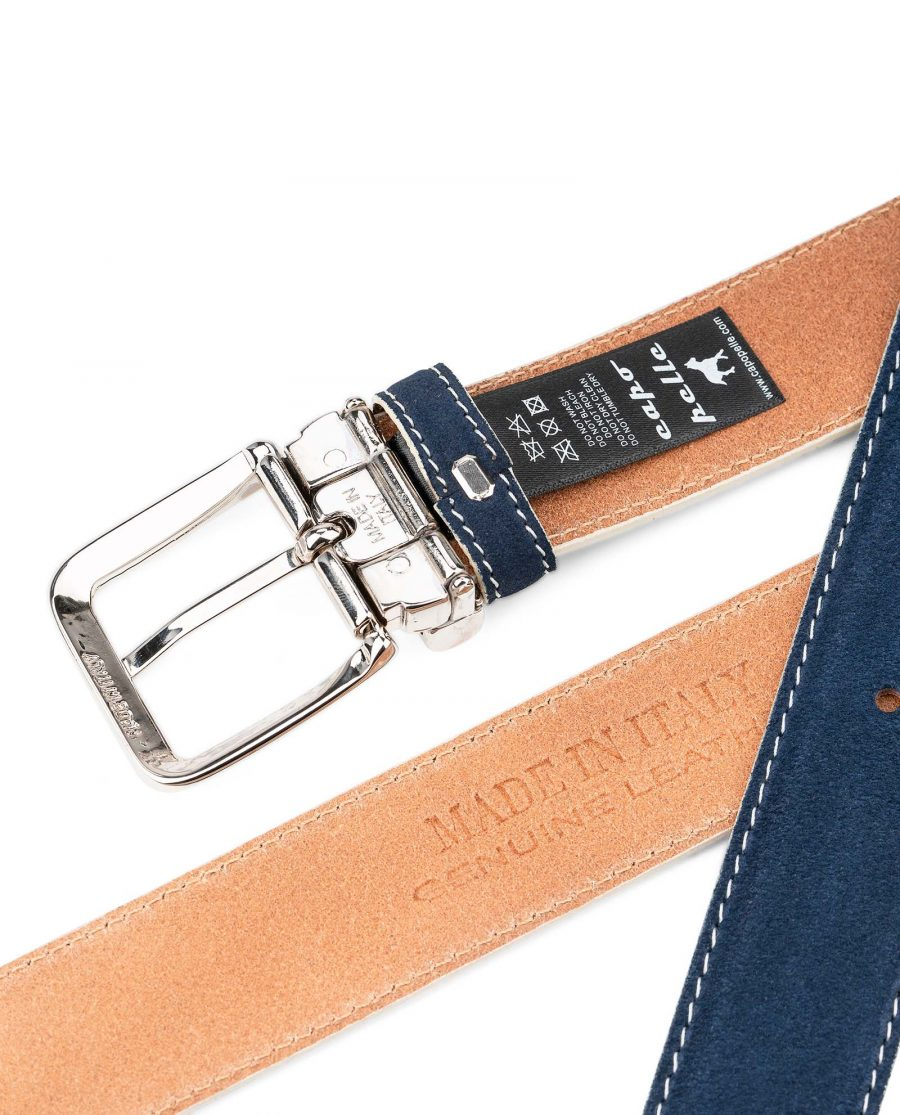Blue-Suede-Belt-with-White-Feather-edges-Italian-Buckle-Heat-stamp