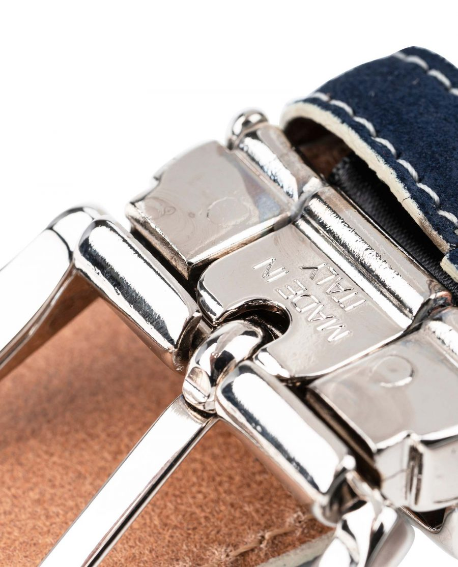 Blue-Suede-Belt-with-White-Feather-edges-Italian-Buckle-Made-in-Italy