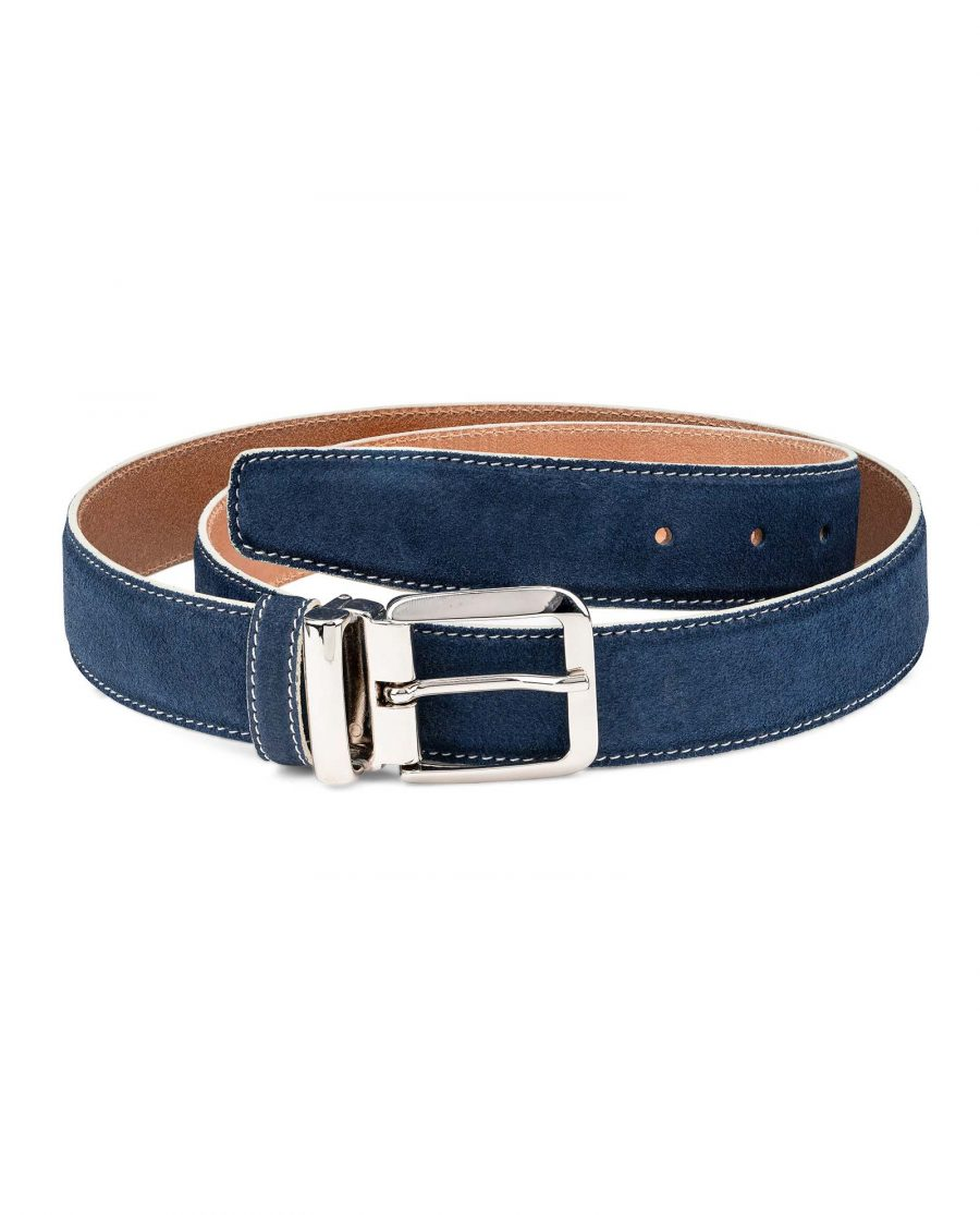 Blue-Suede-Belt-with-White-Feather-edges-Italian-Buckle-Main-image
