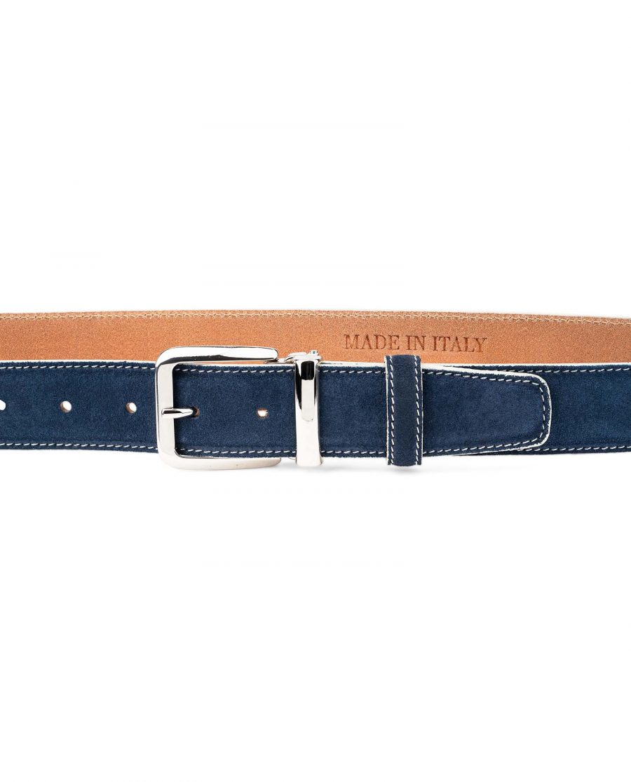 Blue-Suede-Belt-with-White-Feather-edges-Italian-Buckle-On-pants