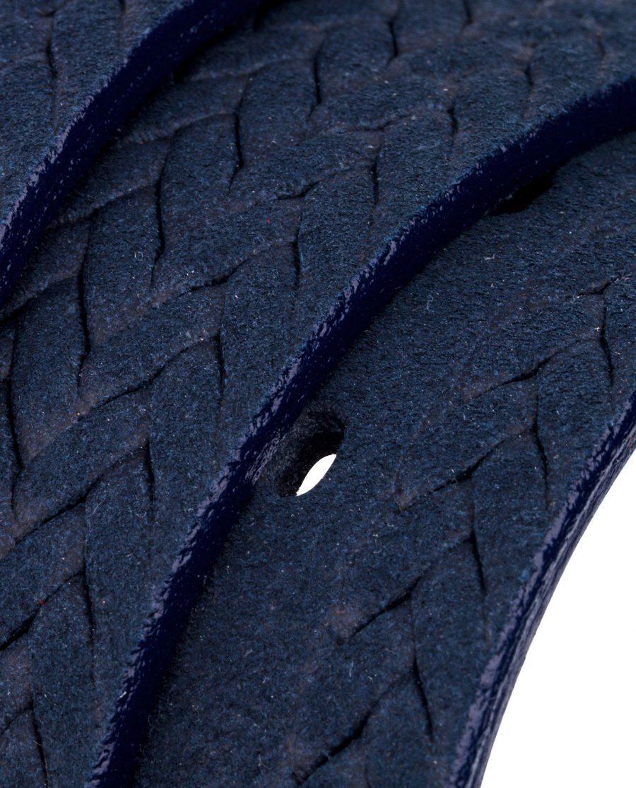 Blue-Suede-Braided-Belt-Rolled-strap