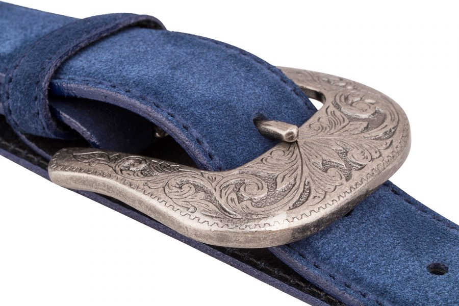 Blue-Suede-Western-Belt-Antique-silver