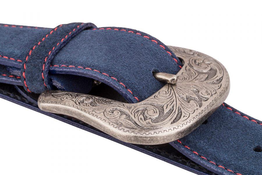 Blue-Western-Leather-Belt-Vintage-silver
