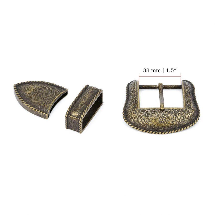 Bronze Belt Buckle Cowboy 3 Piece Set 1