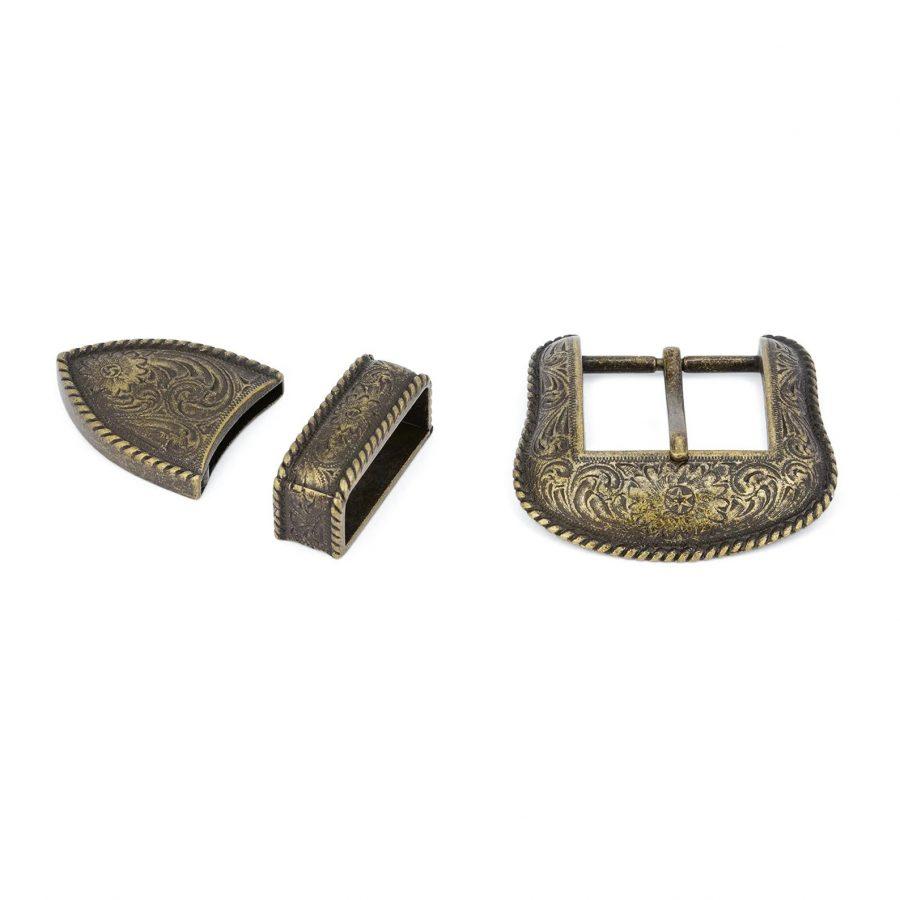 Bronze Belt Buckle Cowboy 3 Piece Set 3