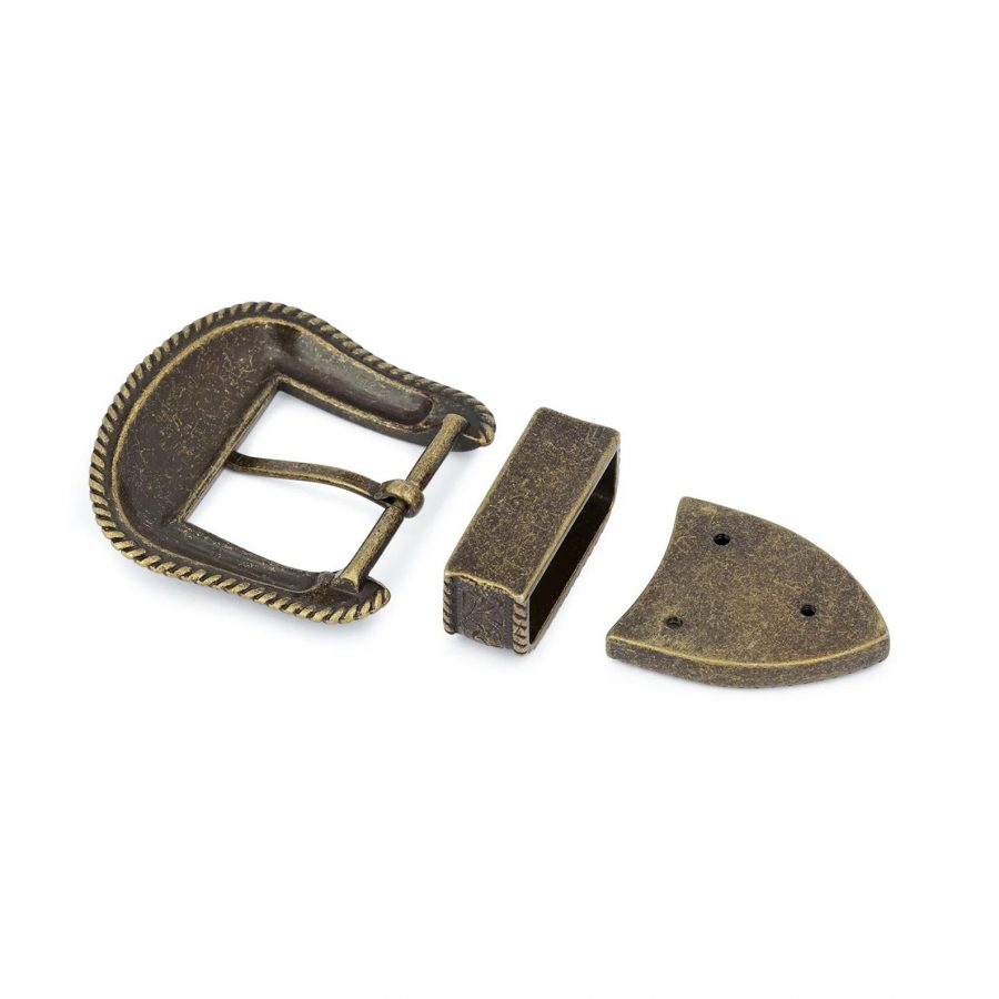 Bronze Belt Buckle Cowboy 3 Piece Set 4
